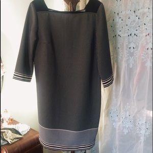Ann Taylor Dot Print 3/4 Sleeve Shift Career Dress